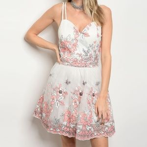Dresses & Skirts - Floral Embroidered Mesh Tulle Dress